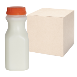 8 oz. Natural HDPE Square Bottles with 38mm Caps - Case of 200
