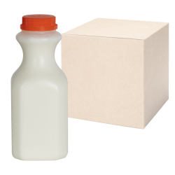 16 oz. Natural HDPE Square Bottles with 38mm Caps - Case of 96