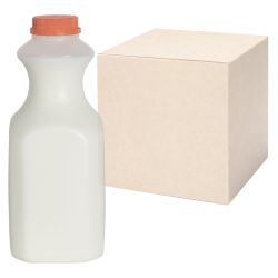 32 oz. Natural HDPE Square Bottles with 38mm Caps - Case of 36
