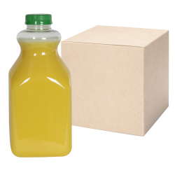 59 oz. Clear PET Square Bottles with 43mm Tamper Evident Caps - Case of 36
