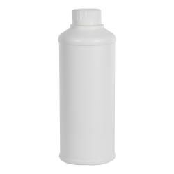 16 oz. White HDPE Round Steel-Yard Bottle with 28/400 CRC Cap