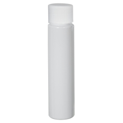 1 oz. White Slim PET Cylinder Bottle with 20/410 Plain Cap