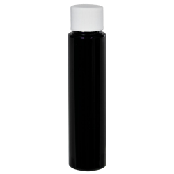 1 oz. Black Slim PET Cylinder Bottle with 20/410 Plain Cap