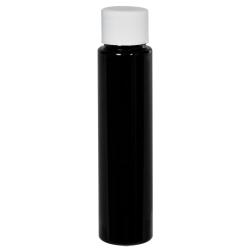 1 oz. Black Slim PET Cylinder Bottle with 20/410 Plain Cap with F217 Liner