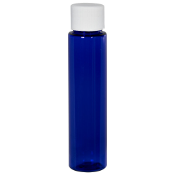 1 oz. Cobalt Blue Slim PET Cylinder Bottle with 20/410 Plain Cap