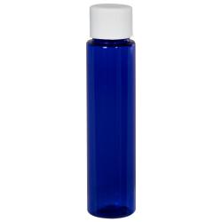 1 oz. Cobalt Blue Slim PET Cylinder Bottle with 20/410 Plain Cap with F217 Liner