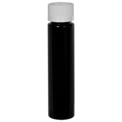 1 oz. Black Slim PET Cylinder Bottle with 20/410 CRC Cap