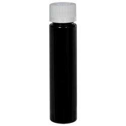 1 oz. Black Slim PET Cylinder Bottle with 20/410 CRC Cap with F217 Liner