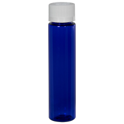 1 oz. Cobalt Blue Slim PET Cylinder Bottle with 20/410 CRC Cap