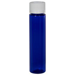 1 oz. Cobalt Blue Slim PET Cylinder Bottle with 20/410 CRC Cap with F217 Liner