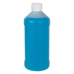 16 oz. Natural HDPE Modern Round Bottle with 28/410 CRC Cap with F217 Liner