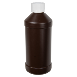 16 oz. Brown HDPE Modern Round Bottle with 28/410 CRC Cap