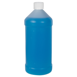 32 oz. Natural HDPE Modern Round Bottle with 28/410 CRC Cap
