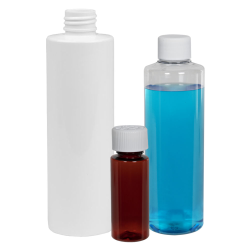 1 oz. Clear PET Cylindrical Bottle with 20/410 Plain Cap