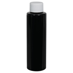 4 oz. Black PET Cylindrical Bottle with 20/410 Plain Cap
