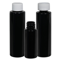 2 oz. Black HDPE Cylindrical Bottle with 20/410 Plain Cap