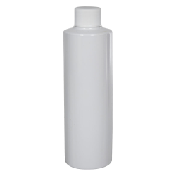 8 oz. White PVC Cylindrical Bottle with 24/410 Plain Cap with F217 Liner