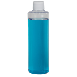 8 oz. Clear PVC Cylindrical Bottle with 24/410 Plain Cap with F217 Liner