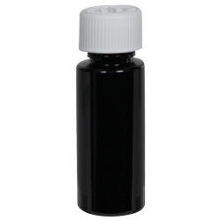 1 oz. Black PET Cylindrical Bottle with 20/410 CRC Cap
