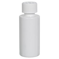 2 oz. White PET Cylindrical Bottle with 20/410 CRC Cap