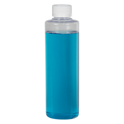 8 oz. Clear PVC Cylindrical Bottle with 24/410 CRC Cap with F217 Liner