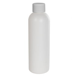 4 oz. HDPE White Cosmo Bottle with Plain 20/410 Cap