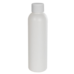 4 oz. HDPE White Cosmo Bottle with Plain 24/410 Cap