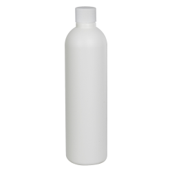 8 oz. HDPE White Cosmo Bottle with Plain 24/410 Cap