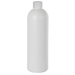 16 oz. HDPE White Cosmo Bottle with Plain 24/410 Cap