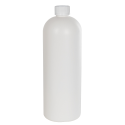32 oz. HDPE White Tall Cosmo Bottle with CRC 28/410 Cap