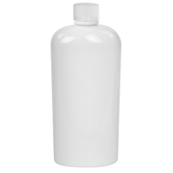 4 oz. White PET Cosmo Oval Bottle with CRC 20/410 Cap with F217 Liner