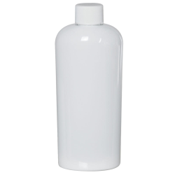 8 oz. White PET Cosmo Oval Bottle with Plain 24/410 Cap