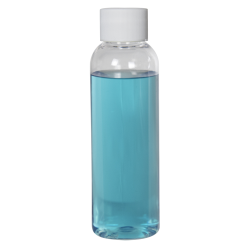 2 oz. Cosmo High Clarity Round Bottle with Plain 20/410 Cap with F217 Liner