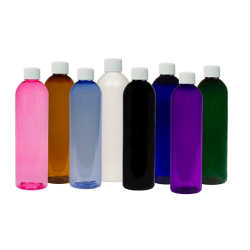 PET Color Cosmo Round Bottles with Plain Caps