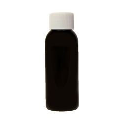 1 oz. Black PET Cosmo Round Bottle with Plain 20/410 Cap with F217 Liner