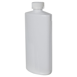 16 oz. White PVC Oval Bottle with CRC 28/410 Cap