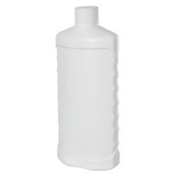 16 oz. White HDPE Bottle with Side Grips & Plain 28/410 Cap