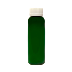 2 oz. Dark Green PET Cosmo Round Bottle with CRC 20/410 Cap
