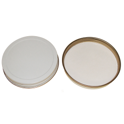 38/400 White/Gold Tin Cap with Pulp/PE Liner