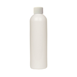 4 oz. White PET Cosmo Round Bottle with Plain 20/410 Cap