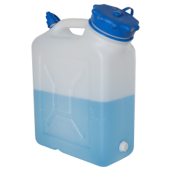10 Liter Wide Mouth HDPE Jerrican with Blue Vented Cap