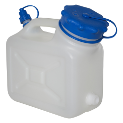 "5 Liter Wide Mouth HDPE Jerrican with Blue Vented Cap & 3/4"" Threaded Connector"