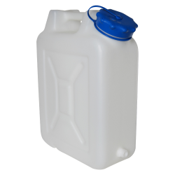 "20 Liter Wide Mouth HDPE Jerrican with Blue Vented Cap & 3/4"" Threaded Connector"