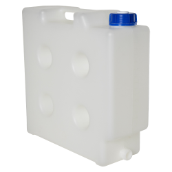 "10 Liter Natural Polypropylene Compact Jerrican with Tamper Evident Cap & 3/4"" Threaded Connector"