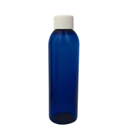 6 oz. Cobalt Blue PET Cosmo Round Bottle with Plain 24/410 Cap