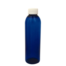6 oz. Cobalt Blue PET Cosmo Round Bottle with CRC 24/410 Cap