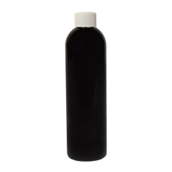 8 oz. Black PET Cosmo Round Bottle with Plain 24/410 Cap