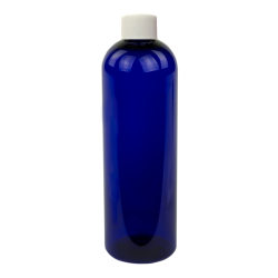 8 oz. Cobalt Blue PET Cosmo Round Bottle with Plain 24/410 Cap