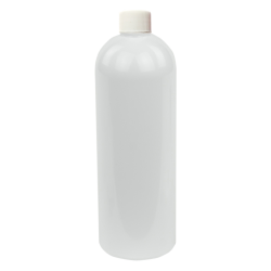 16 oz. White PET Cosmo Round Bottle with Plain 24/410 Cap