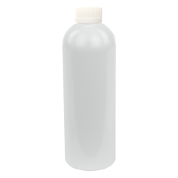 16 oz. White PET Cosmo Round Bottle with CRC 24/410 Cap